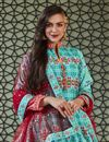 photo of Designer Party Wear Readymade Patola Style Printed Anarkali Suit In Cyan Art Silk