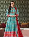 image of Designer Party Wear Readymade Patola Style Printed Anarkali Suit In Cyan Art Silk