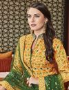 photo of Eid Special Art Silk Party Wear Patola Style Printed Designer Readymade Anarkali Dress In Mustard