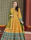 image of Eid Special Art Silk Party Wear Patola Style Printed Designer Readymade Anarkali Dress In Mustard