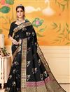image of Art Silk Designer Weaving Work Saree In Black With Attractive Blouse