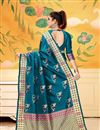 photo of Sky Blue Party Wear Saree In Art Silk With Weaving Work And Beautiful Blouse