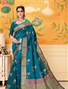 image of Sky Blue Party Wear Saree In Art Silk With Weaving Work And Beautiful Blouse