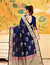 photo of Art Silk Navy Blue Festive Wear Saree With Weaving Work And Attractive Blouse