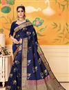 image of Art Silk Navy Blue Festive Wear Saree With Weaving Work And Attractive Blouse