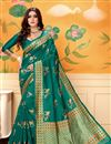 image of Occasion Wear Art Silk Weaving Work Saree In Teal With Designer Blouse