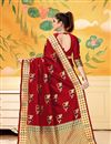 photo of Weaving Work On Art Silk Red Function Wear Saree With Marvelous Blouse