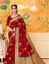 image of Weaving Work On Art Silk Red Function Wear Saree With Marvelous Blouse