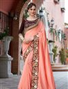 image of Georgette Designer Embellished Peach Wedding Wear Saree