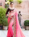 image of Georgette Fancy Pink Designer Saree With Embroidery Work