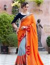 image of Fancy Embellished Georgette Designer Saree In Orange