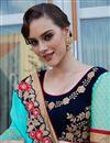 photo of Wedding Wear Georgette Cyan Designer Embroidered Saree