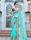image of Wedding Wear Georgette Cyan Designer Embroidered Saree