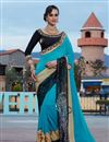 image of Wedding Wear Designer Embroidered Fancy Saree In Sky Blue