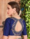 photo of Function Wear Navy Blue Border Saree In Fancy Fabric With Party Wear Blouse