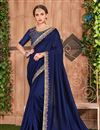 image of Function Wear Navy Blue Border Saree In Fancy Fabric With Party Wear Blouse