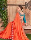 image of Border Work On Orange Fancy Function Wear Saree With Enigmatic Blouse