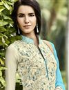 photo of Beige Pakistani Style Long Georgette Salwar Suit