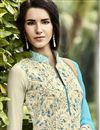 photo of Beige Pakistani Style Long Georgette Salwar Suit