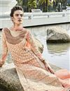 photo of Peach Georgette Pakistani Pattern Designer Dress