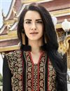 photo of Black Long Pakistani Style Georgette Salwar Suit