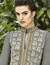 photo of Grey Long Pakistani Style Georgette Salwar Suit