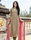 image of Mehendi Green Georgette Long Pakistani Suit