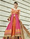 image of Alluring Orange-Pink Color Silk Designer Lehenga