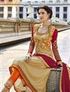 photo of Cream Embroidered Georgette Salwar Kameez