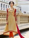 image of Cream Georgette Embroidered Salwar Suit