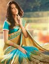 photo of Glorious Cream And Sky Blue Color Designer Saree