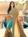 image of Glorious Cream And Sky Blue Color Designer Saree
