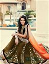 photo of Orange And Mehendi Green Color Embroidered Saree