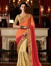 image of Wedding Wear Embroidered Velvet And Georgette Sari