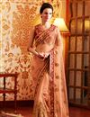 image of Charismatic Orange Color Embroidered Saree