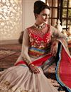 photo of Beige-Red Wedding Wear Net-Georgette Saree-60