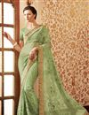 image of Sea Green Wedding Wear Embroidered Saree-62