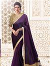 image of Prachi Desai Fancy Plain Saree In Dark Purple With Embellished Blouse