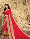 image of Embellished Georgette Red Function Wear Saree