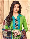 photo of Straight Cut Georgette Green Suit With Printed Dupatta