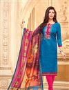 image of Georgette Fancy Straight Cut Dress With Printed Dupatta