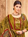 photo of Mehendi Green Straight Cut Churidar Dress With Printed Dupatta