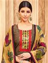 photo of Straight Cut Georgette Beige Suit With Printed Dupatta In Plus Size