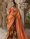 photo of Embroidered Orange And Brown Designer Function Wear Saree