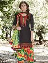image of Casual Style Printed Cotton Fabric Black Patiala Dress