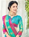 photo of Embellished Cotton Silk Cyan Designer Saree