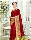 image of Weaving Work Cotton Silk Maroon Traditional Fancy Saree