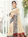 image of Cotton Silk Beige Saree With Weaving Work Embroidery