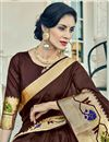 photo of Weaving Work Embroidered Cotton Silk Fancy Brown Saree