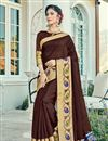 image of Weaving Work Embroidered Cotton Silk Fancy Brown Saree
